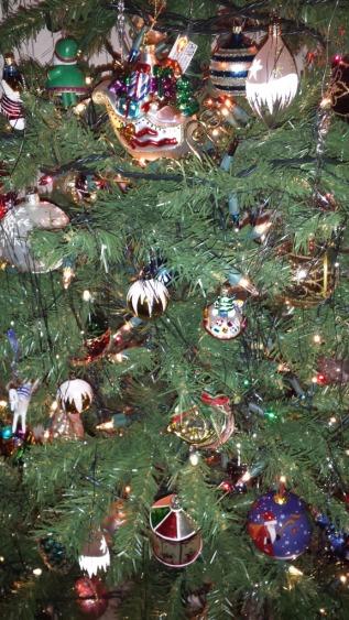 German glass, tinsel, ornaments, Christmas,