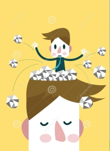 empty head, writer's block, stock illustration, S.A. Young