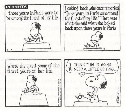 Snoopy, editing, post-retreat blues, S. A. Young, writing life